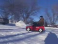Grown Men Riding Barbie Power Wheels in the Snow