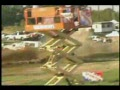 Dirt Drag- Truck Crosses Track and Gets LAUNCHED!